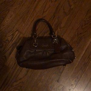 Brown mini coach handbag